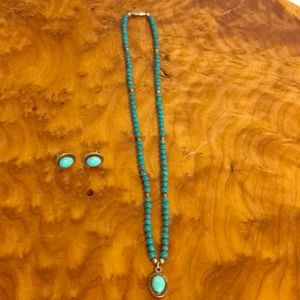 ❤️Beautiful turquoise necklace & earrings